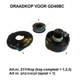 Nylon draadspoel artikel nr. SP2111KOP voor GD40BC 40 volt trimmer-bosmaaier. _