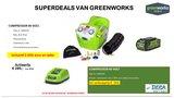 Actie2019-10, DEPA / Greenworks 40 Volt Accu Compressor G40ACK2, Incl. 2-AH Accu & Lader,  AANBIEDING!_