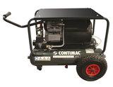 Compacte bouwcompressor, traagdraaiend, oliegesmeerd met 2 cilinders in V-formatie._