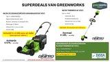 Actie2019-15, Greenworks Zelfaangedreven 60V Grasmaaier incl. 2x Accu & lader + Trimmer_