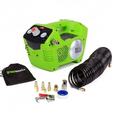 Greenworks G24AC 24V Compressor compleet met accessoires Excl. Accu & Lader