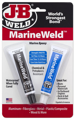 JB-Weld Marineweld, art.nr: 8272, 2x28,4-Gr. 2-componenten koudlasmiddel, hardt uit onder water!