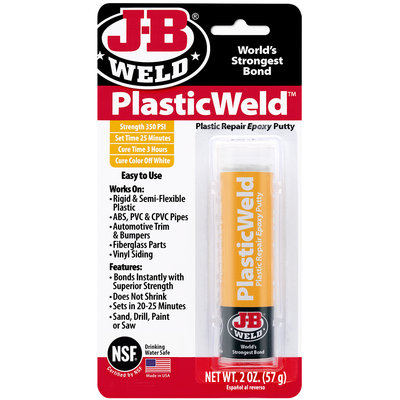 JB-Weld KwikPlastik 92449, Kneedbare 2-componenten lijm voor snel verlijmen / afdichten van alle plastics