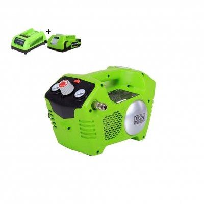 Greenworks G24ACK2 24V Compressor compleet met accessoires Incl. 2AH Accu & Lader