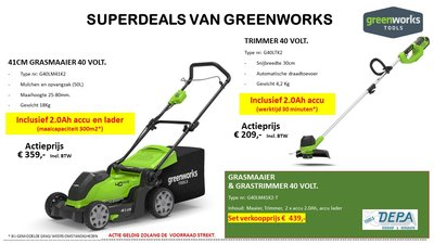 Actie2019-8, Greenworks 40 Volt Accu Maaier G40LM41K2 + 40V Trimmer-, Graskantenmaaier G40ltK2