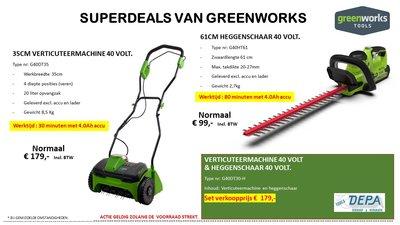 Actie2019-11, Greenworks 40V Vertikuteer machine G40DT35 + 61-CM Heggenschaar G40HT61