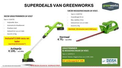 Actie2019-14, Greenworks 24V Grastrimmer 30Cm type G24LTK2 + Greenworks 54-Cm Heggenschaar type G24HT54