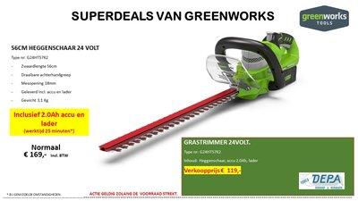 Actie2019-13, Greenworks 24V 56-Cm Heggenschaar type G24HT57K2, incl. Accu & Lader