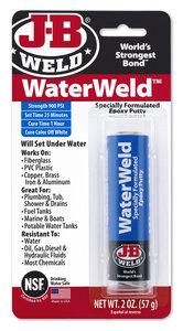 JB-Weld Waterweld art.nr:8277  kneedbaar 2-componenten epoxylijm, hardt zelf uit onder wat + ontvetter