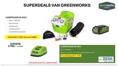 Actie2019-10, DEPA / Greenworks 40 Volt Accu Compressor G40ACK2, Incl. 2-AH Accu & Lader,  AANBIEDING!
