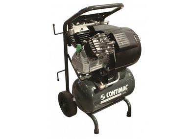 Compacte, traagdraaiende, oliegesmeerde zuigercompressor met 2 cilinders in V-formatie.