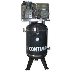 Verticale, riemaangedreven, oliegesmeerde zuigercompressor  met een 2 cilinder in lijn formatie.