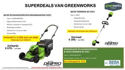 Actie2019-15, Greenworks Zelfaangedreven 60V Grasmaaier incl. 2x Accu & lader + Trimmer